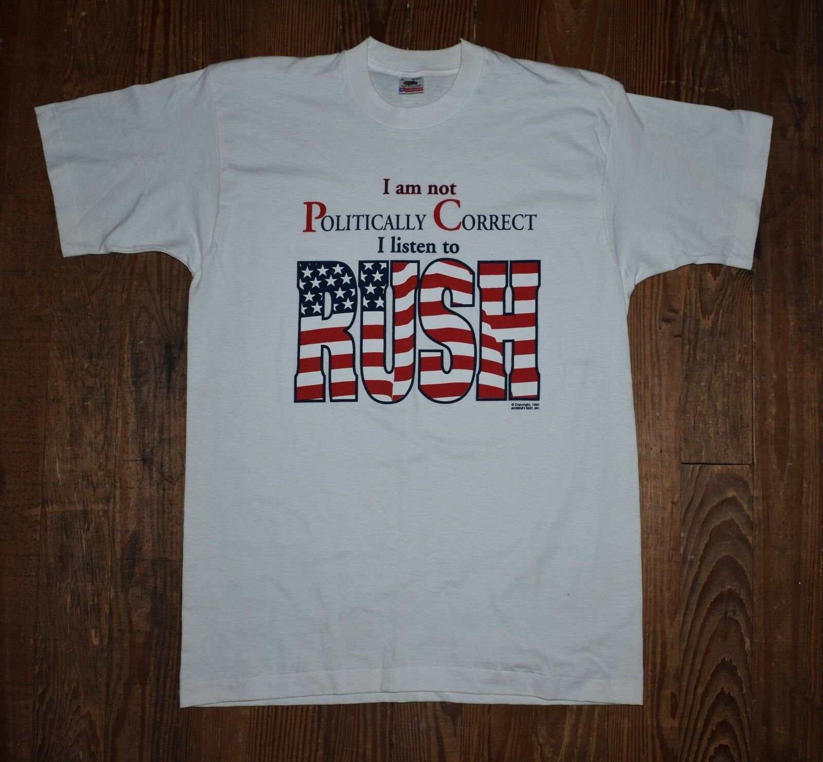 Vintage NOS 1993 I Am Not Political Correct I Listen To Rush Election T Shirt  L
