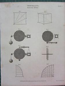 1809 Datato Antico Stampa ~ Miscellany Diagonale Movimento Vari Diagrammi