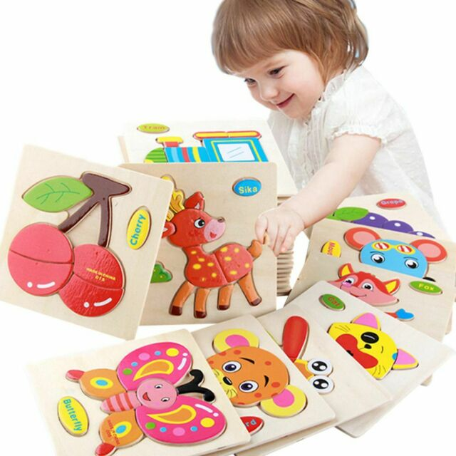 Baby KidS Cartoon Animal DimenSional 3D Early Education Wooden JigSaw Puzzle S