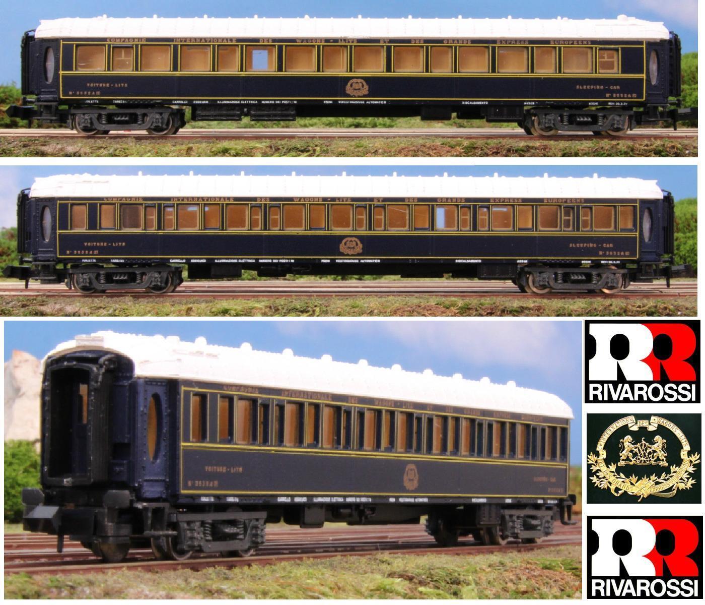 RIVAROSSI 9554 CIWL VAGONE LETTO 3532-A ORIENT EXPRESS con LUCI INTERNE SCALA-N