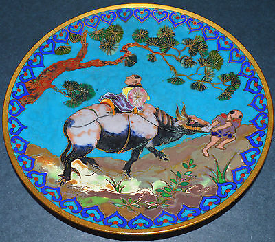 """SUPERB! Antique 19th C Chinese Japanese Cloisonne OXEN Art Plate 6"""" Emperor ox"""