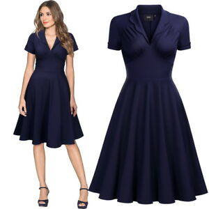 Women-039-s-Midi-V-Neck-Collared-Swing-Dress-Only-in-available-in-Navy-Blue