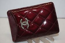 CHANEL Quilted Patent Leather BURGUNDY Red iPhone Case Pouch Sleeve Rare!