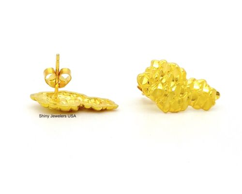MENS 18K YELLOW GOLD FINISH LARGE NUGGET 925 STERLING SILVER STUD EARRINGS