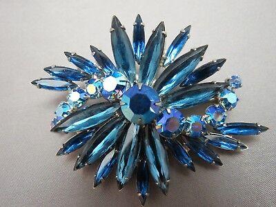 VTG Rhinestone Brooch Blue Long Navettes Round AB Flower Spray Rhodium Plated