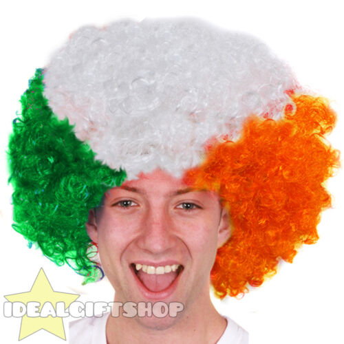 ST PATRICK/'S DAY SUPPORTER  AFRO WIG TRI-COLOUR IRISH FLAG ACCESSORY NOVELTY LOT