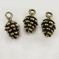 80PCS Antique Bronze Alloy Pine Cone Charms Pendant Finding 9*7*5mm 37718
