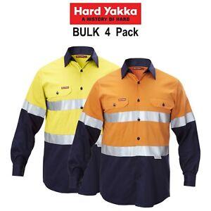 Mens-Hard-Yakka-Work-Shirt-4-Pack-Hi-Vis-Taped-Safety-Long-Sleeve-Cotton-Y07990