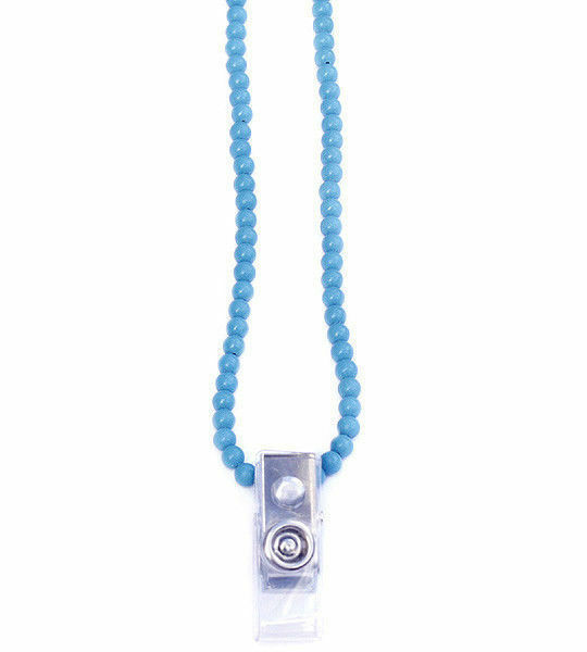 Blue turquoise beaded id badge necklace BDG340001