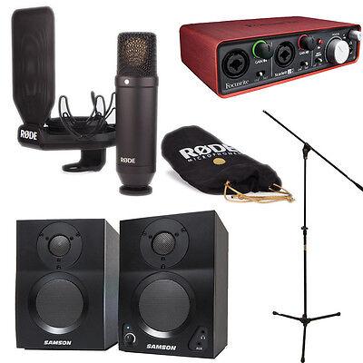 RODE NT1 Kit with Scarlett 2i2 + Studio Monitors + Boom Mic Stand + 20' XLR