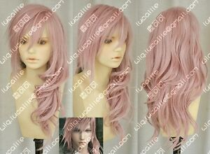 Final-Fantasy-Lightning-Anime-Cosplay-Costume-Wig-Free-Ship-CAP