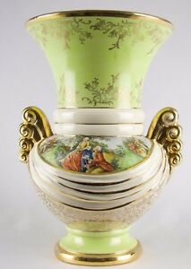 ABINGDON-VICTORIAN-French-Regency-Pottery-Vase-1940-039-s-10-034-Vase-Transferware-USA