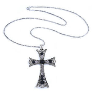 """30/"""" LONG NEW. GOTH A LARGE MADONNA STYLE  CROSS BLACK BALL CHAIN NECKLACE"""