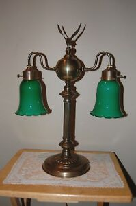 Vintage Brass Double Arm Student Desk Table Lamp With Fluted Green