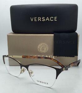 322ce14b8de New VERSACE Eyeglasses VE 1218 1344 53-17 Gold-Brown-Tortoise Semi ...