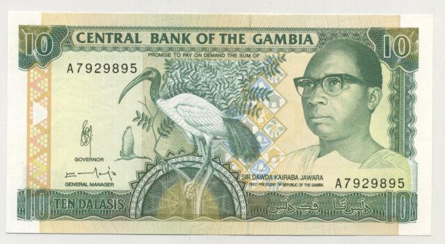 Gambia 10 Dalasis ND 1991-95 Pick 13.b UNC Uncirculated Banknote