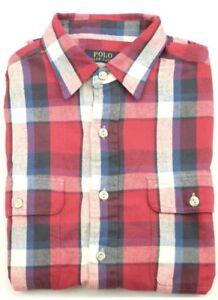 nuevos productos para valor por dinero comprar genuino Detalles de Ralph Lauren Cuadros Camisa Manga Larga Rojo Azul Mediana  Blanco Hombre Estándar