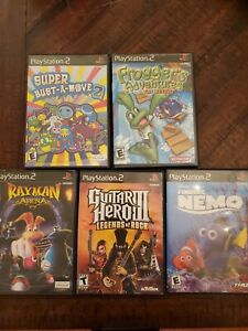 Playstation-2-lot-of-5-games-super-bust-a-move-2-frogger-guitar-hero-Nemo-rayman