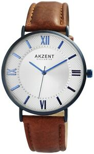 Akzent-Herrenuhr-Silber-Braun-Analog-Metall-Kunstleder-Armbanduhr-X2900182003