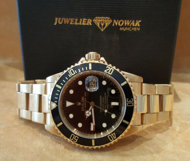 ROLEX SUBMARINER 16808 VOLLGOLD  Rolex Box + Rechnung