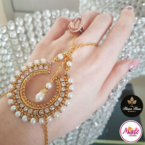 Image Is Loading Stunning Gold Stones Hand Chain Panja Ring Bracelet