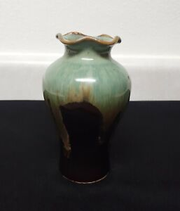 "Handmade Hobbyist Drip Glaze Ceramic Vase Brown Blue/Green 6 1/2"" Tall"