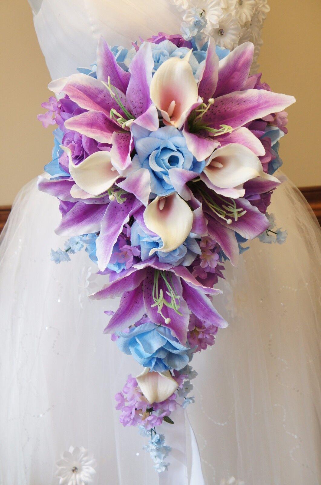 Cascade Bouquet-bébé bleu violets lavande artificielle Teardrop Mariage Fleur