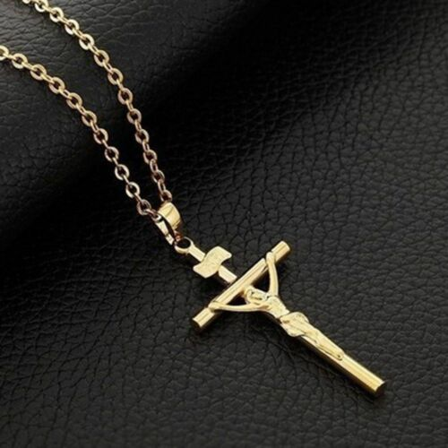 Cross Necklace Jewelry 18K Real Gold Plated INRI Crucifix Jesus Pendant Chain