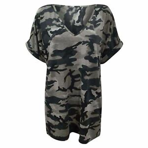 Ladies-Army-Military-Oversized-Baggy-Camoflauge-Top-Womens-Turn-V-Neck-T-Shirts