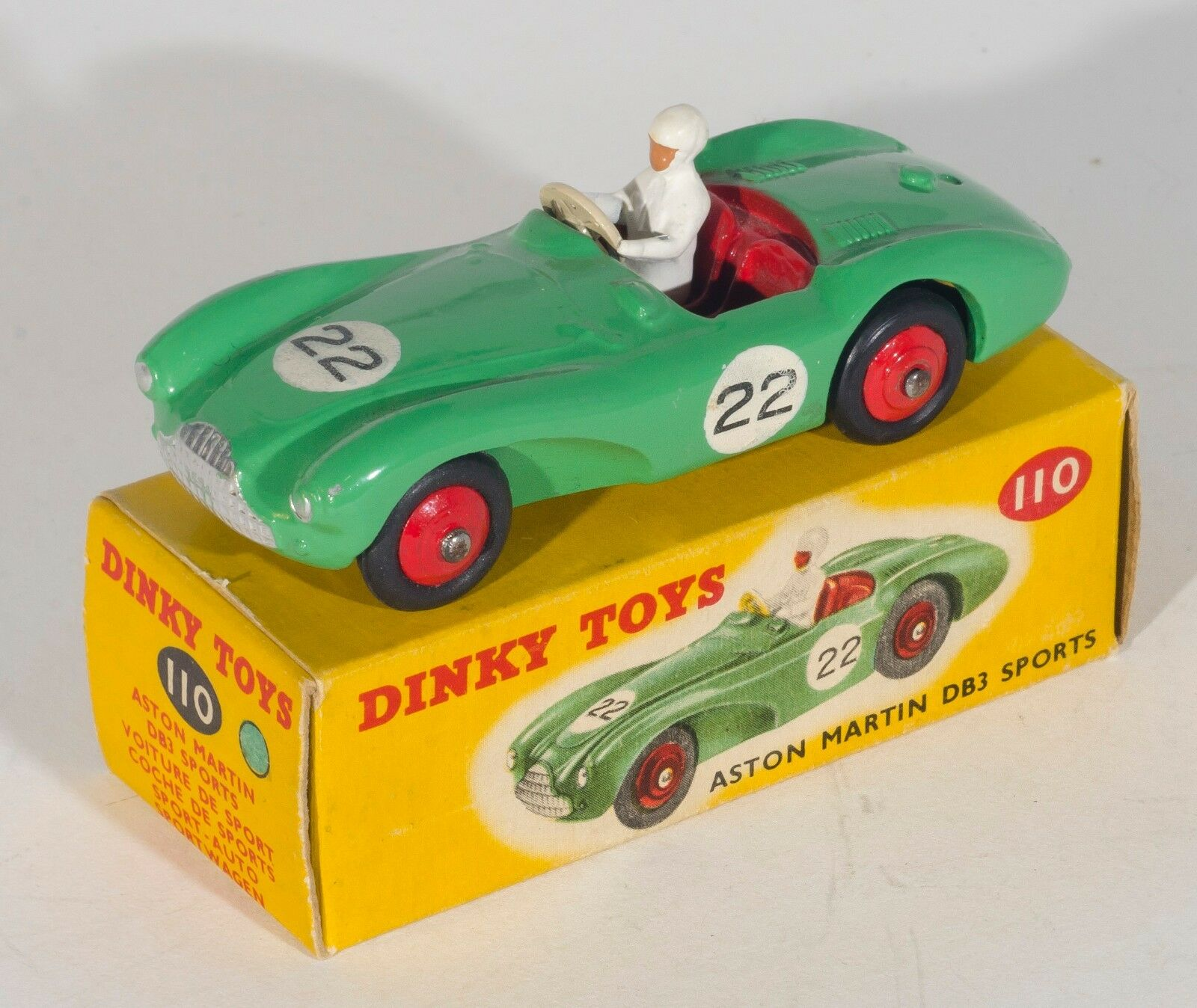 Dinky 110 Aston Martin DB3 Sports Car. Rare Mid-Green. RN  22. Boxed. 1950's