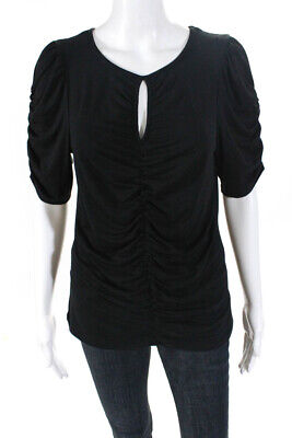 Frame Womens Jersey Short Sleeve Ruched Top Tee Black Size M    eBay