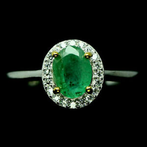TOP-EMERALD-RING-Natuerliche-Gruen-Smaragd-Ring-Gr-19-Sterlingsilber-R281
