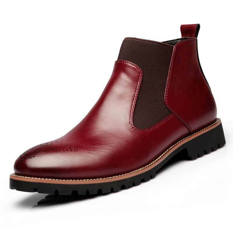 2018 New Men's Martin Boots Casual Leather Ankle Outdoor Slip On Business shoes