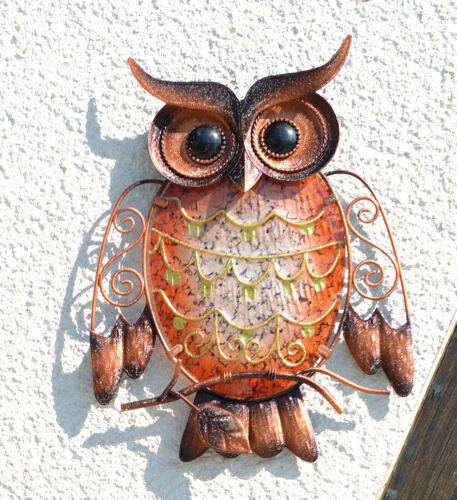 Schöne Deko Eule Uhu Dekoeule Wandhänger Wanddekoration Metall Orange Bunt Owl