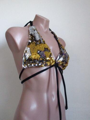Schminke sequin halter festival sequins mermaid goldfish scales bikini top bra