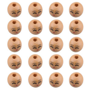 20pcs-Wooden-Round-Painted-Smile-Face-amp-Eyebrows-Loose-Craft-Beads-18mm-4mm-Hole