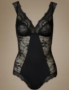 M/&S Ladies Body Black Eyelash Lace Extra Stretch BNWT Marks £20