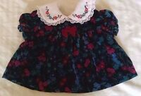 Vtg Cradle Togs Baby Dress 6-9M Black Velvet Purple Blue Flowers Lace New