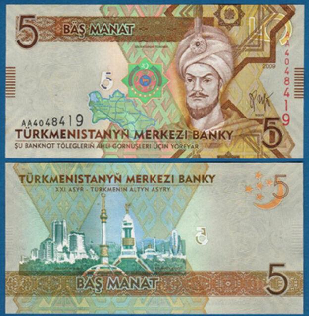 TURKMENISTAN 5 Manat 2009 UNC  P. 23