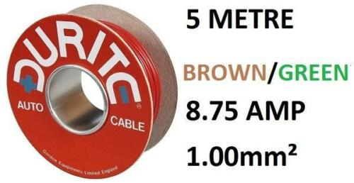 SINGLE CORE 1MM PVC AUTO CABLE 5 METRES DURITE 0-942-34 BROWN AND GREEN 14//0.30
