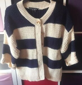 Bnwt And Knit Cream Striped Navy Chunky Cardigan 16 wPiukXZTOl