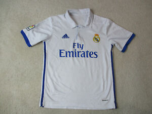 Adidas-Real-Madrid-Soccer-Jersey-Youth-Extra-Large-White-Blue-Futbol-Kids-Boys