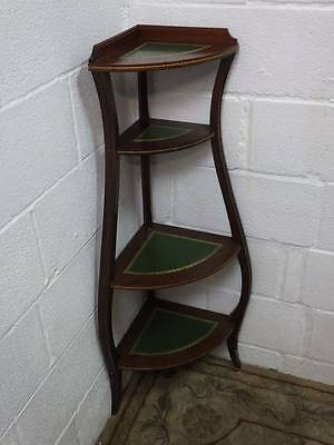 MAHOGANY REGENCY STYLE CORNER STAND / WHATNOT 4 TIER, Green Leather Inlay