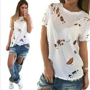 Womens-Distressed-Ripped-Holes-Short-Sleeve-Baggy-Basic-Tee-T-Shirt-Top-B