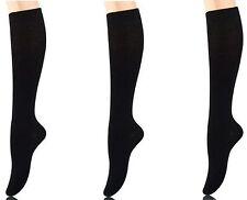 3 PAIRS YELETE WOMENS GIRLS KNEE HIGH SOCKS SCHOOL NURSE SOLID BLACK 9-11 A1