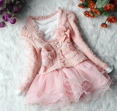 T327 Beautiful Lace Flowers Baby Girl Princess Cute Long Sleeve Dress 90cm-120cm