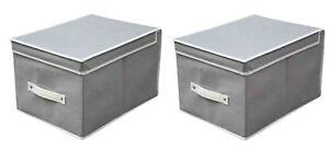 2-Pz-x-Scatole-di-Immagazzinaggio-Contenitori-con-Coperchio-Scatola-H25x30x40CM