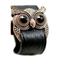 Accents Kingdom Owl Leather Cuff Bracelet Clear Crystal