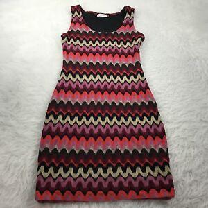 CALVIN-KLEIN-Women-039-s-Size-8-Knit-Sheath-Dress-Black-Pink-Cream-Sleeveless-Career