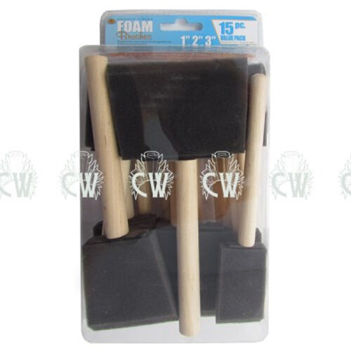 """15 x Foam Sponge Brushes in Assorted Sizes (1"""",2"""",3"""").For Painting, Art & Craft."""